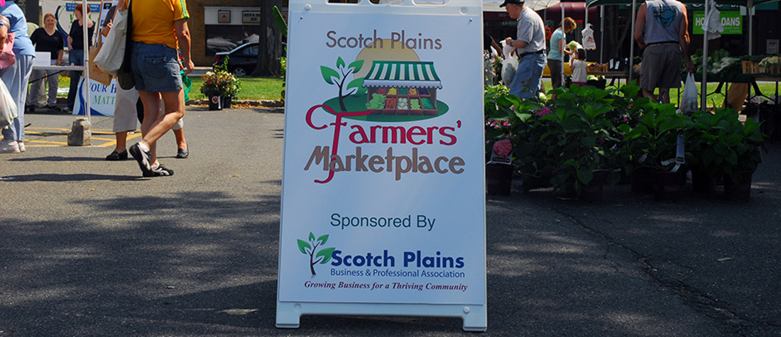 Scotch Plains Farmers' Marketplace sign